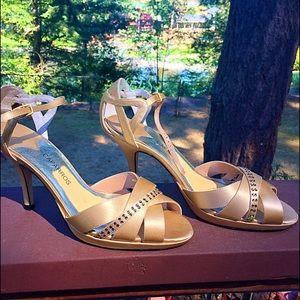 COPY - Women's Wedding Satin Sandals. Gold w/ Rhi…